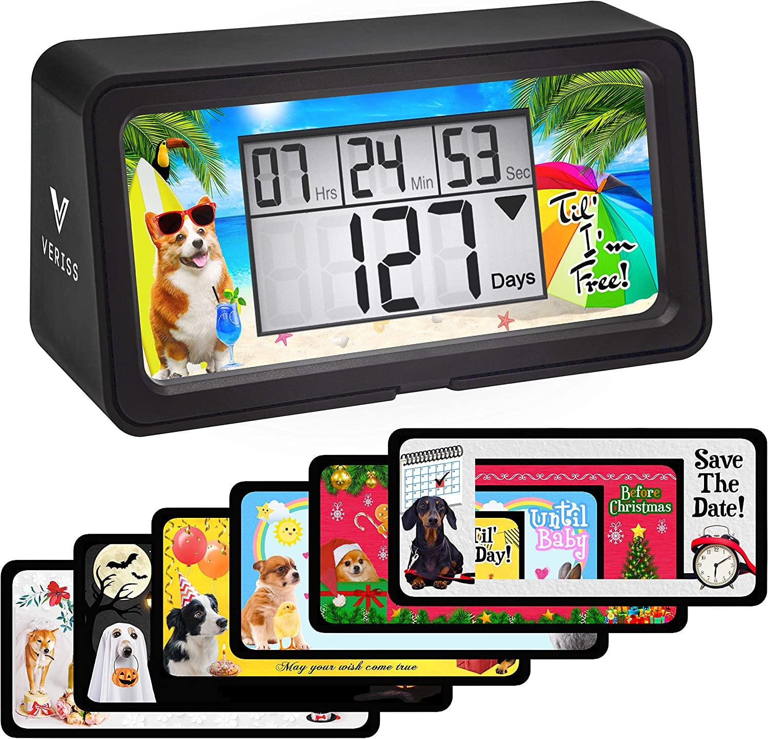 VERISS Digital 9999 Days Countdown Clock Timer with Backlight - Count Down Your Retirement, Wedding, Christmas, Vacation and All Calendar Event Dates in Your Life - Dog Collection (Black - 8 Frames)