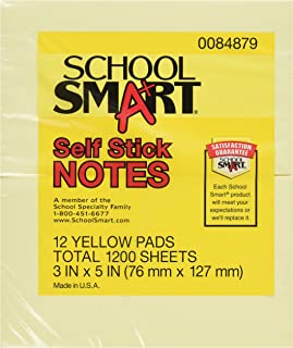 School Smart Removable Self-Stick Note, 3 X 5 in, Yellow, 100 Sheet Pads, Pack of 12