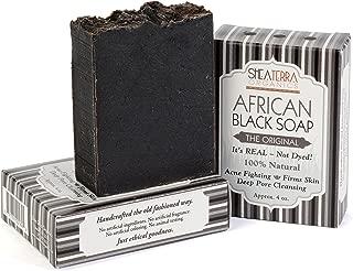 Shea Terra Organics African Black Soap Bar – Original Yoruban Soap | Natural Skin Care for Acne, Eczema, Dry Skin, Psoriasis, Wrinkles, and More - Home Spa Treatment Full Body Wash - 3 Pack Gift Set