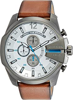 Diesel Men's DZ4280 Mega Chief Gunmetal Brown Leather Watch