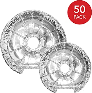 Electric Stove Burner Covers (50 Pack) – Electric Stove Bib Liners - Disposable Aluminum Foil 6 Inch and 8 Inch Round Burner Cover Liners to Keep Electric Range Stove Clean from Oil and Food Drips