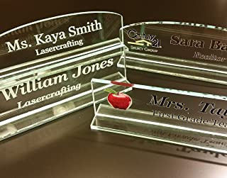 Acrylic Name Plate - Select Engraved or Color Option, Cove or Square Top (Colored, Rounded Top)