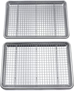 """Checkered Chef Baking Sheet And Cooling Rack Set Twin Pack - 2 Rimmed Aluminum Baking Pans 16.5 x 11.5"""" With 2 Stainless S..."""