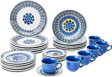 1 Aparelho de Jantar e Chá 30 Peças Oxford Daily Floreal La Carreta Multicor