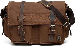 "Berchirly Vintage Military Men Canvas Messenger Bag for 14.7"" Inch Laptop"