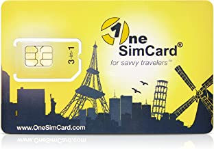 OneSimCard Prepaid International 3-in-one SIM Card for Over 200 Countries with $10 Credit – Voice, Text and Mobile Data as Low as $0.01 per MB. Compatible with All Unlocked GSM Phones