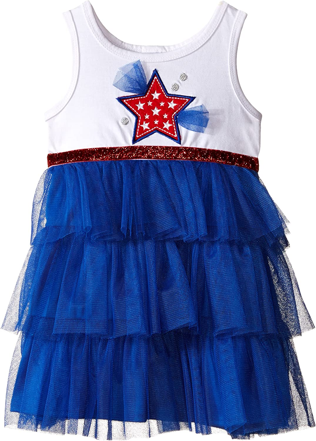 Youngland Baby Girls' Knit to Max 51% OFF Tiered Mesh Dress Max 88% OFF with P Americana