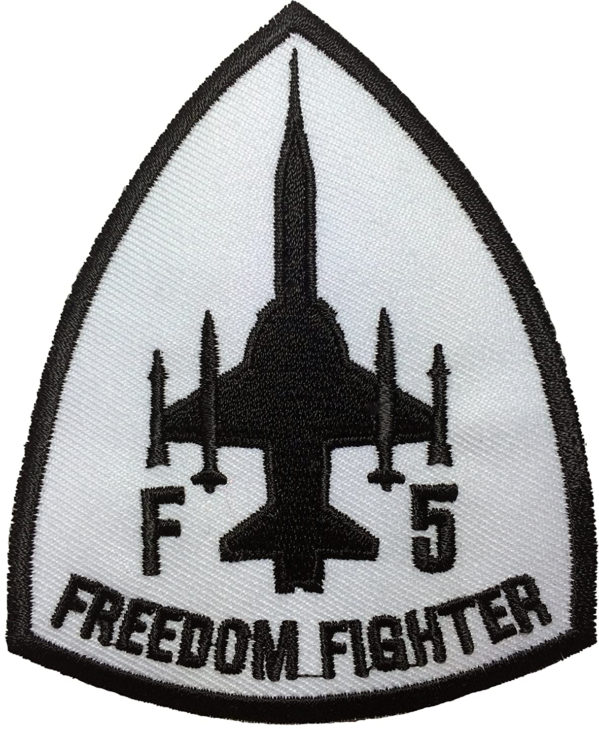F5 fighter freedom (white)Pilot Military Band Logo Jacket Vest shirt hat blanket backpack T shirt Patches Embroidered Appliques Symbol Badge Cloth Sign Costume Gift 7.5 x 9cm