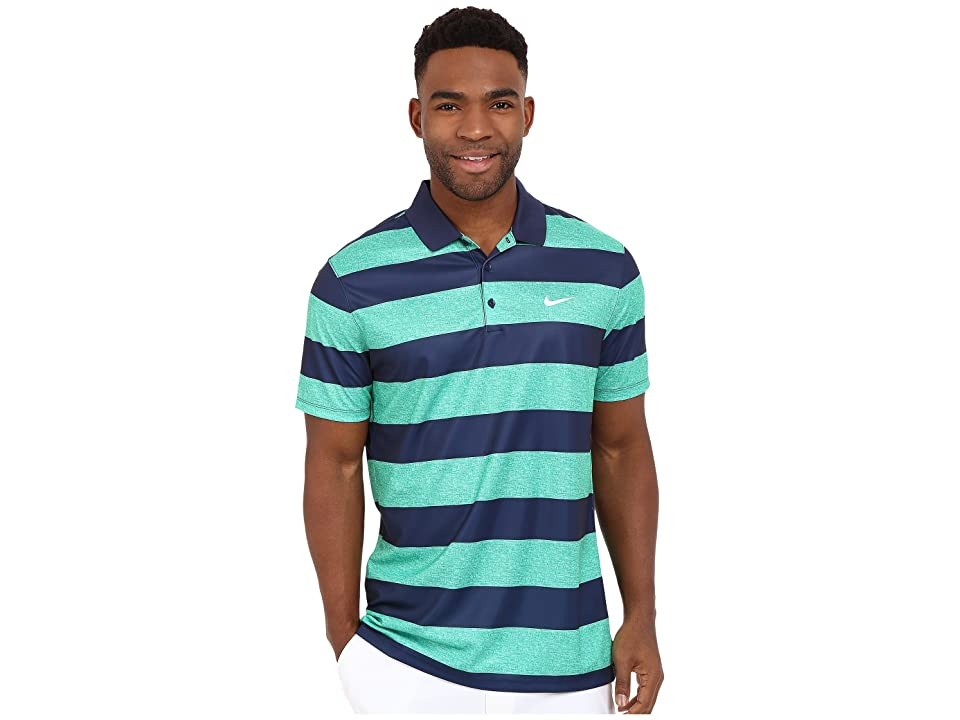 Nike Golf Victory Bold Stripe Polo (Lucid Green/Midnight Navy/White) Men