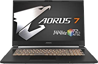 GIGABYTE AORUS 7ゲーミングノート /17.3インチ 狭額縁 72 % NTSC, 5ms応答速度 /Win10 (144HZ | GTX1650 Ti | i7-10750H | 8G*2 | 512G SSD)