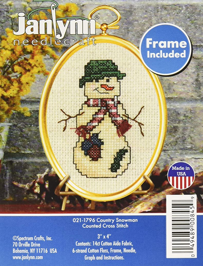 Janlynn 21-1796 14 Count Country Snowman Mini Counted Cross Stitch Kit, 3