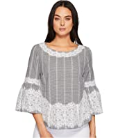 Bell Sleeve Blouse w/ Lace Trim