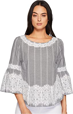CeCe - Bell Sleeve Blouse w/ Lace Trim