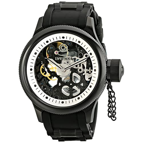 Invicta Mens 1091 Russian Diver Stainless Steel and Black Polyurethane Watch with Skeleton Window