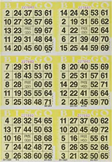 6 on Yellow Bingo Paper Cards - 500 sheets
