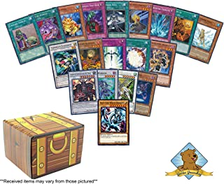 100 Yugioh Card Lot - Featuring Blue-Eyes White Dragon! 5 Rares - 4 Holos! Includes Golden Groundhog Treasure Chest Storage Box!