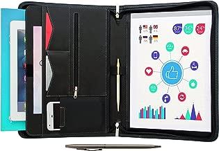 STYLIO Zippered Portfolio w Premium Pen, Padfolio Binder, Interview Resume Document Organizer. Internal Holders: iPad/Tablet (up to 11