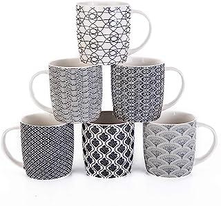 مجموعه لیوان قهوه MACHUMA 6 لیوان قهوه 11.5 اونسی با الگوهای هندسی سیاه و سفید ، ست لیوان چای سرامیکی