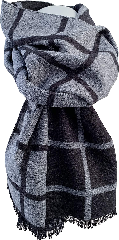 color gris claro bicolor Bufanda de seda para hombre doble cara Pietro Baldini reversible