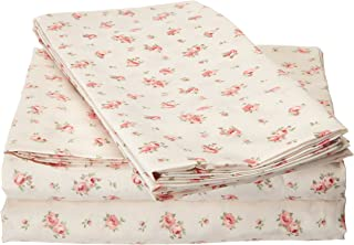 Amrapur Microfiber Sheet Set   Luxuriously Soft 100% Microfiber Rose Printed Bed Sheet Set with Deep Pocket Fitted Sheet, ...