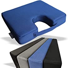 Medipaq - Memory Foam Wedge Cushion with Coccyx Cut Out for Back Support and Height Boost - Washable Zip Cover with Anti-S...