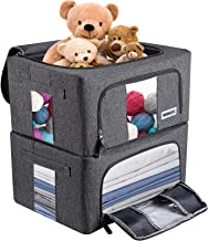 WONLIFE Stackable Storage Bins Boxes,Collapsible Container Basket Set,Foldable Fabric Closet Shelf Organizer/Clear Window,...