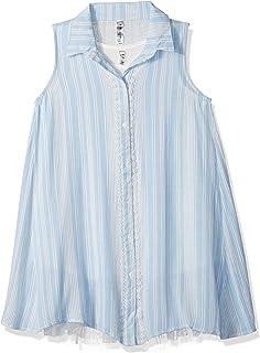 فستان بناتي من Beautees بأزرار كبيرة أمامية SLV/بدون أكمام