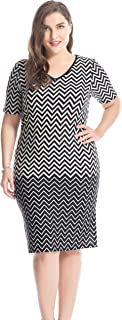 Women's Plus Size Printed V Neck Short Sleeves Zigzag Dress - Knee Length Casual and Work Dress