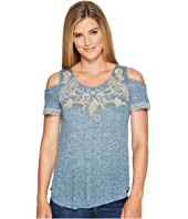 Lucky Brand - Embroidered Cold Shoulder Top