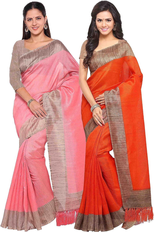 Rajnandini Women's Tussar Silk Printed Saree(Baby Pink And orange_Combo Of 2)