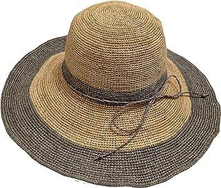 [アドグレイス] 夏用 麦わら ラフィア 100% 縫製 品質保証 サイズ調節可能 つば広 レディース 帽子 女優帽 ハット 3タイプ シンプル フリンジ グレー ブラウン ネイビー テラコッタ 57cm