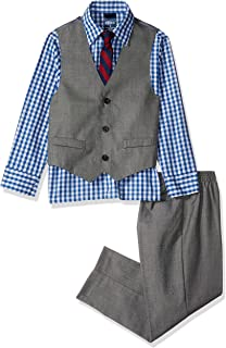 grey vest blue pants