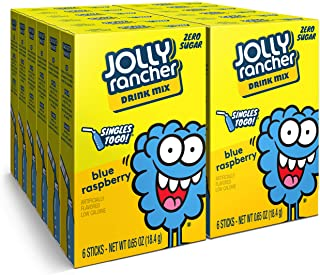 Jolly Rancher Singles To Go Powdered Drink Mix, Blue Raspberry, 12 Boxes with 6 Packets Each - 72 Total Servings, Sugar-Fr...