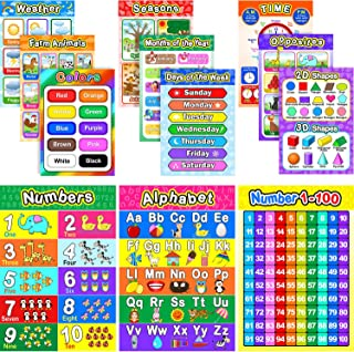Educational Preschool Poster for Toddler and Kid with Glue Point Dot for Nursery Homeschool Kindergarten Classroom - Teach Numbers Alphabet Colors Days and More 16 x 11 Inch (12 Pieces, English Style)