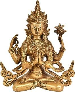 Tibetan Buddhist Deity Chenrezig (Four-Armed Avalokiteshvara) - Brass Statue