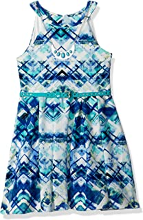 فستان Beautees بناتي كبير بدون أكمام مطبوع عليه Halter Skater