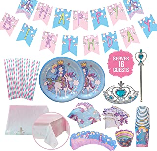 Unicorn Mermaid Party Supplies Set, Sturdy Birthday Decorations & Tableware in Rainbow Pastel Colors with Plates, Cups, Napkins, Straws, Cupcake Wrappers, Toppers, Banner, Table Cover, Tiara, Wand