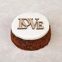 Cakeology Co. Bakery - Pastel de regalo de 10 cm en lata - Pastel de frutas con brandy, decorado a mano con mazapán, glaseado y una placa decorativa con la palabra LOVE, 325 g