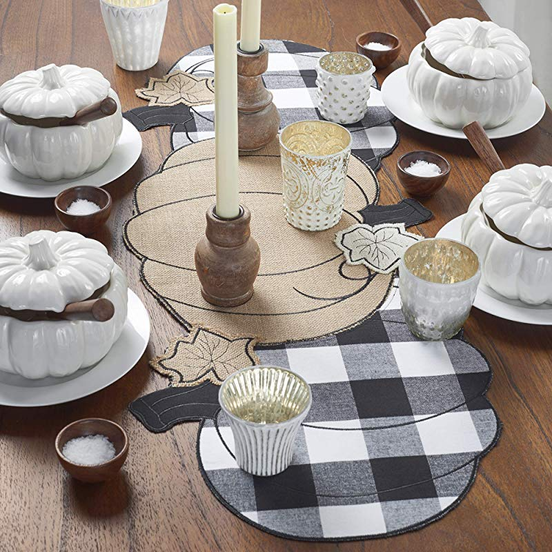 Elrene Home Fashions Farmhouse Living Fall Burlap And Check Pumpkin Centerpiece Runner 14 X 36 Table Black White