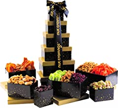 Holiday Nut and Fruit Gift Tower – Gourmet Mix of 12 Assorted Nuts & Dried Fruit Snacks in Individual Boxes – Large Bulk Variety Basket Set for Christmas, Holiday or Easter Gift By Nut Cravings