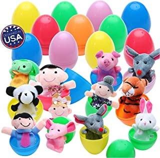 "20 Easter Eggs with Fun Finger Puppets - Assortment Surprise Plush Toys of Animal Finger Puppets in Plastic Eggs 2.4"" x 1.6"" (6cm x 4cm) Each Perfect for Easter Egg Hunt, Birthdays, Kids Gifts and Party Favors"