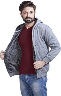 ADBUCKS Winter Wear Jacket Inside Full Black & White Fur & Made by Rich Cotton Fabric with Hoodies for Mens