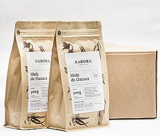 Nabora Mole de Oaxaca con Tableta de Cacao Orgánico, Sabor a Nuez, Dulce, Afrutado, Picante, Chocolate Amargo y Agridulce, 300 g, 12 Piezas