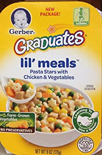 Gerber Graduates Lil' Meals PASTA STARS WITH CHICKEN & VEGETABLES- 6oz. (Pack of 8)