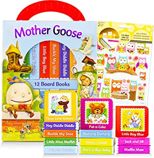 Mother Goose Board Books Set Toddlers Babies Bundle ~ Pack of 12 Chunky My First Library Board Book Block with Stickers (M...