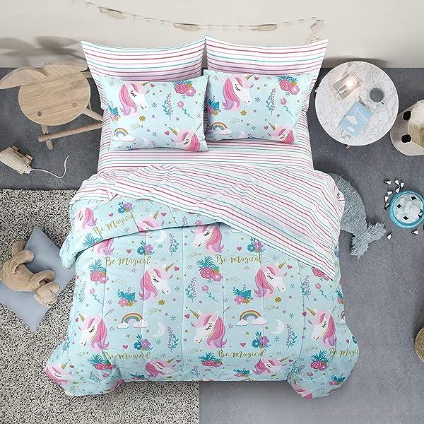 遗产儿童儿童和幼儿超柔软困倦的独角兽和彩虹容易洗超细纤维 7 件床在一个包设置全蓝