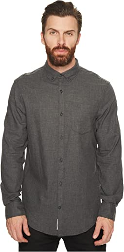 Original Penguin - Long Sleeve Heathered Herringbone Non-Solid Solid Shirt