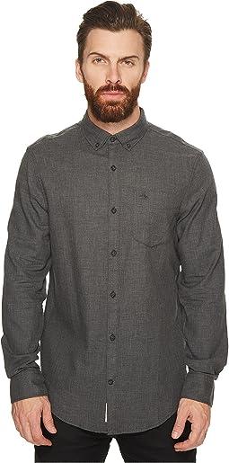 Original Penguin - Long Sleeve Heathered Herringbone Non-Solid Solid Shirt
