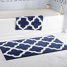 Lavish Home 2 Piece Trellis Bathroom Mat Set Navy