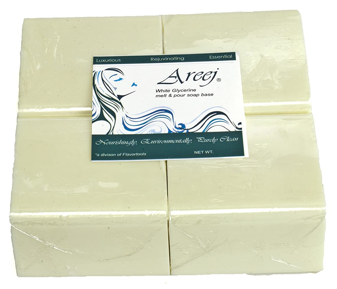Areej Hypo-Allergenic Biodegradable White Glycerin Soap Base made with 100% Pure Natural Glycerin - 5 Pounds